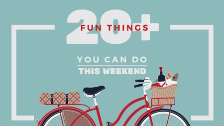 Plantilla de diseño de Weekend Ideas Red Bicycle with Food Title