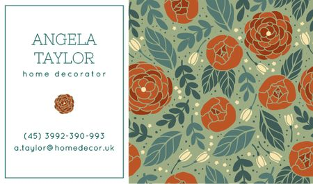 Ontwerpsjabloon van Business card van Decorator Contacts with Roses Pattern
