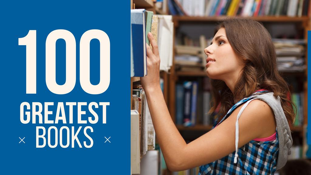 Greatest books poster with girl in library - Bir Tasarım Oluşturun