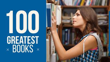 Greatest books poster with girl in library
