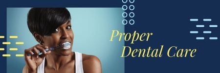 Modèle de visuel Dental Care Tips with Woman Brushing Her Teeth - Email header
