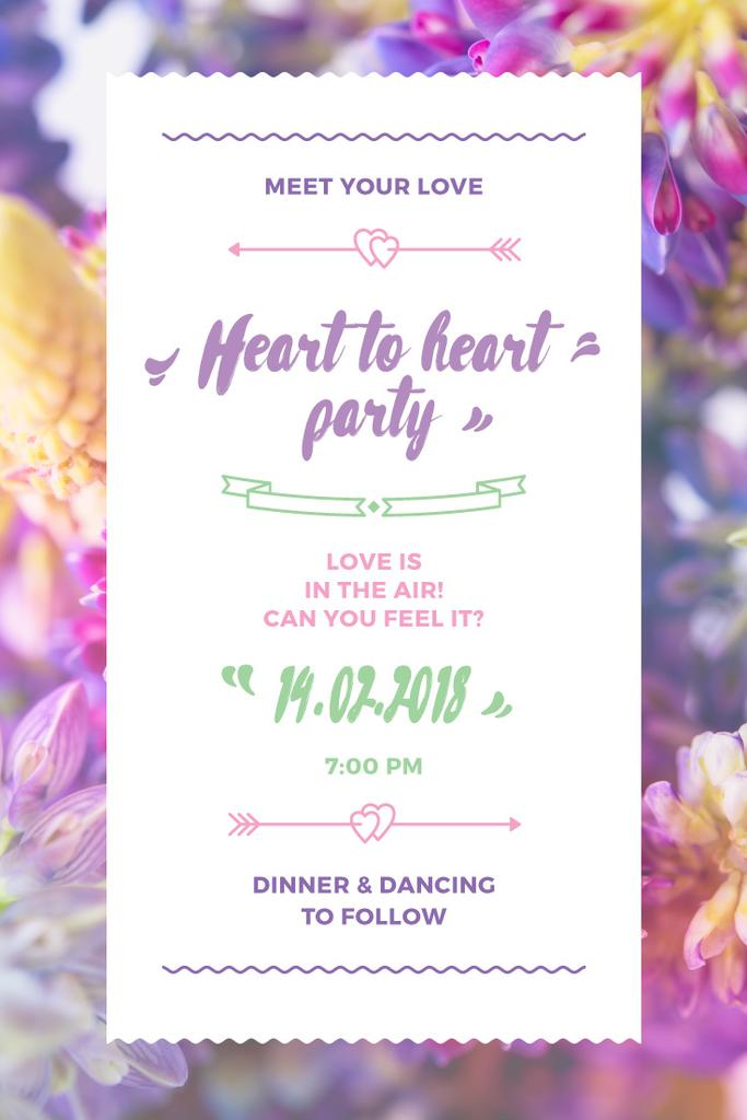 Party Invitation with Purple Flowers | Pinterest Template — ein Design erstellen