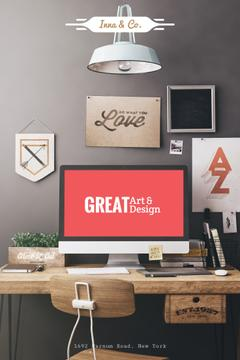 Design Agency Ad with Computer Screen on Working Table