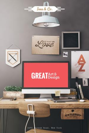 Design Agency Ad with Computer Screen on Working Table Pinterest – шаблон для дизайну