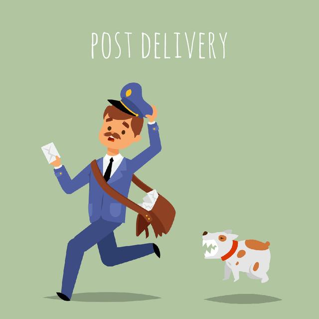 Modèle de visuel Dog chasing a mailman - Animated Post
