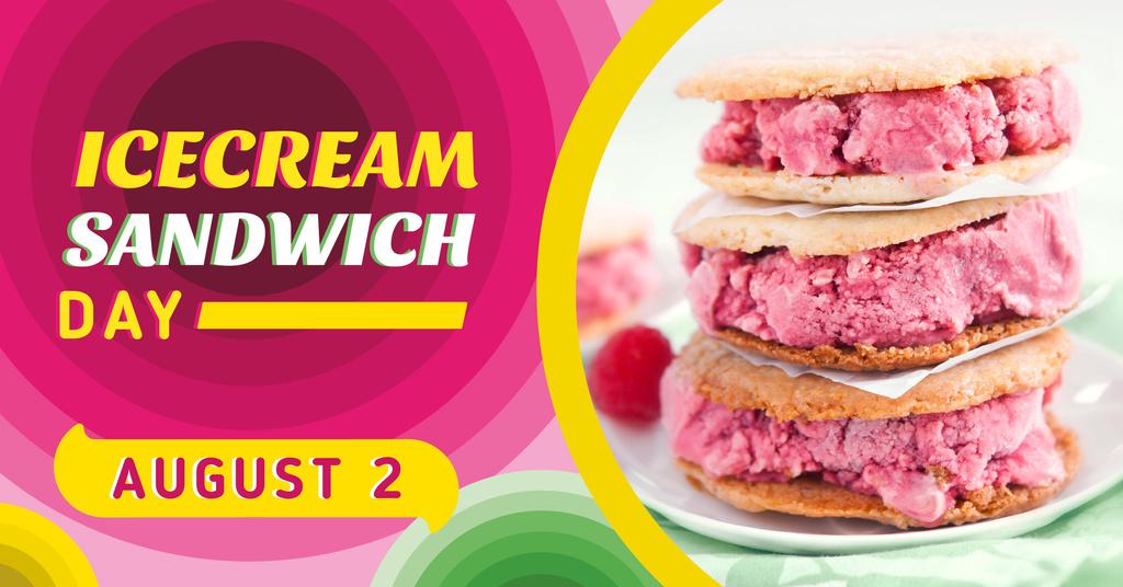 Ice Cream Sandwich Day Offer Pink Dessert Facebook AD Design Template