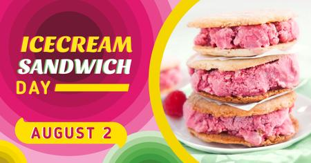 Ice Cream Sandwich Day Offer Pink Dessert Facebook AD Tasarım Şablonu