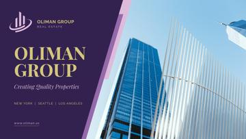 Real Estate Company Ad Glass Skyscraper in Blue | Presentation Template