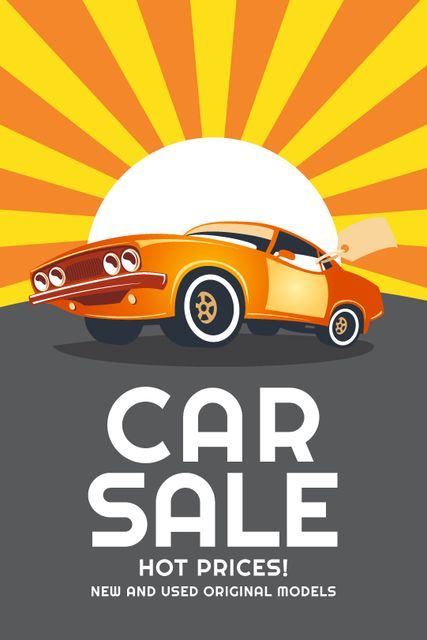 Car Sale Advertisement Muscle Car in Orange Tumblr Modelo de Design