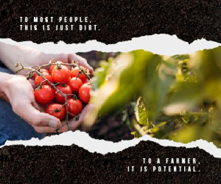 Template di design Farmer Harvesting Vegetables Medium Rectangle