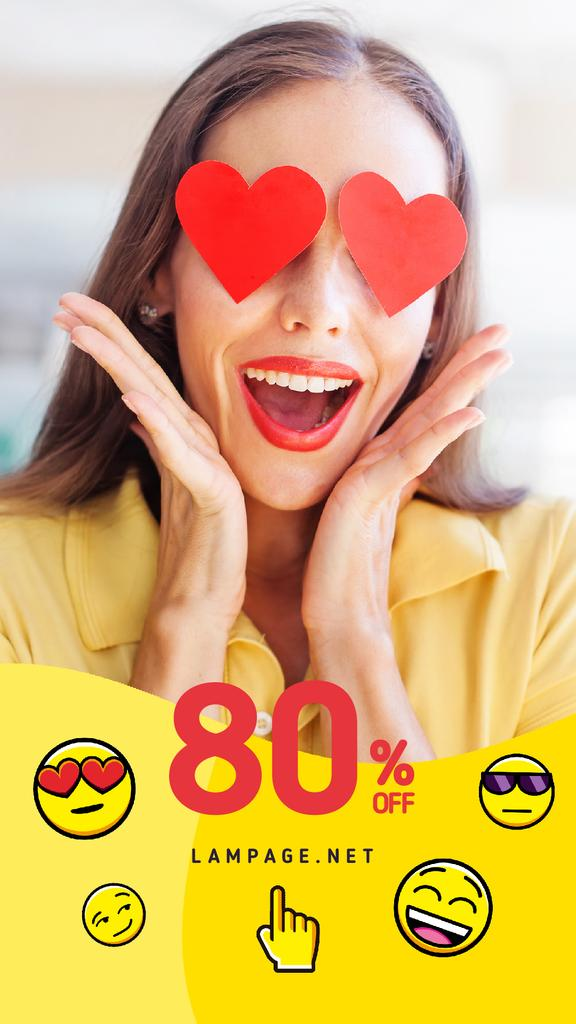 Sale Offer with Shocked Girl Hearts on Eyes | Vertical Video Template — Créer un visuel