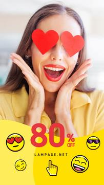 Sale Offer with Shocked Girl Hearts on Eyes | Vertical Video Template
