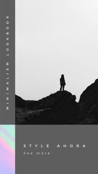 Minimalism lookbook Ad with Man on the rock