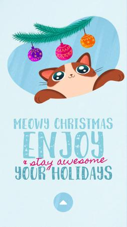 Template di design Christmas Greeting Cat Playing with Baubles on Tree Instagram Video Story