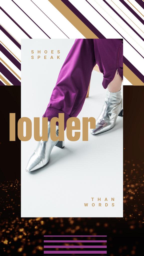 Silver Boots Ad Female Legs Golden Background | Vertical Video Template — Создать дизайн