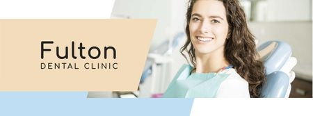 Dentistry Ad Woman Smiling with White Teeth Facebook cover Modelo de Design