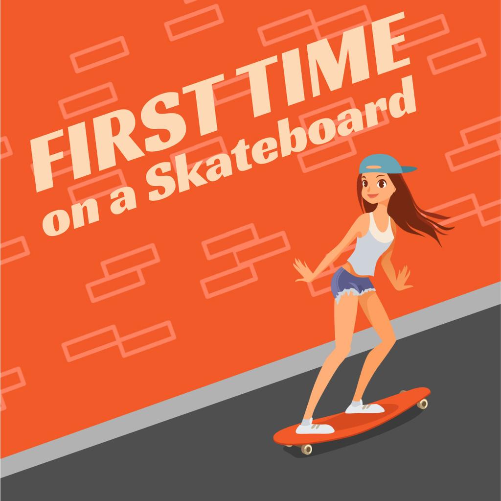Skateboarding Lessons Girl Skating on Longboard — Modelo de projeto