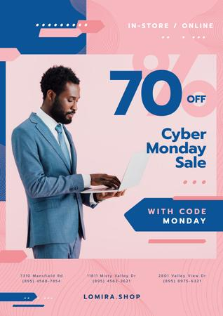 Ontwerpsjabloon van Poster van Cyber Monday Sale with Man Typing on Laptop