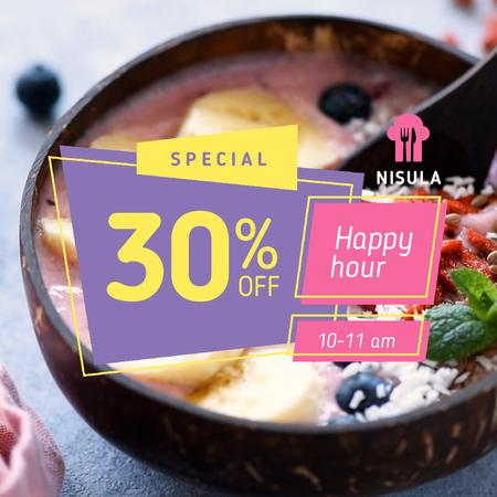 Happy Hour Offer with Smoothie Bowl and Fruits Animated Post Design Template