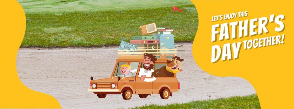 Father's Day Happy Family in Car — Maak een ontwerp