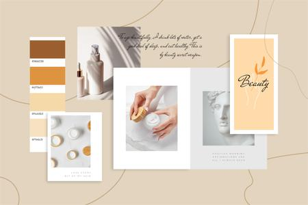 Ontwerpsjabloon van Mood Board van Woman using Skincare products