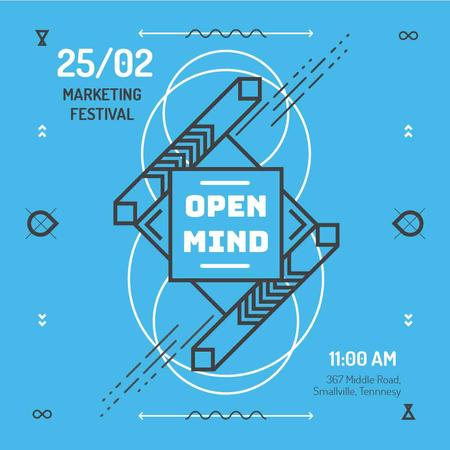 Marketing Festival invitation in Geometric Frame in Blue Instagram AD – шаблон для дизайну