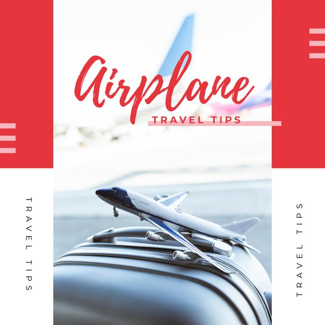 Ontwerpsjabloon van Instagram van Travel Tips with Toy plane on suitcase