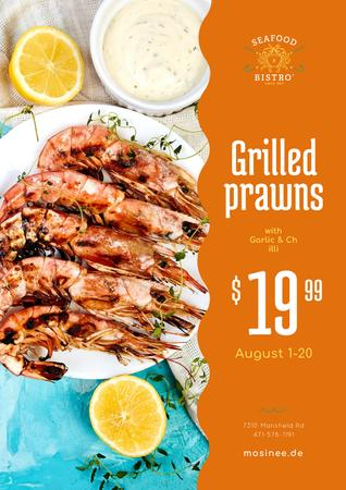 Ontwerpsjabloon van Poster van Seafood Menu Offer with Prawns with Sauce