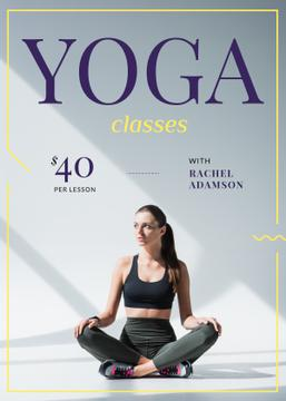Woman Practicing Yoga on White | Flyer Template