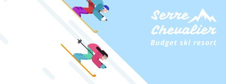 Skiers on a snowy slope Facebook Video cover Modelo de Design