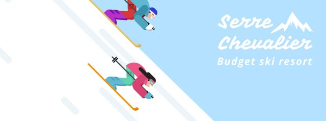 Skiers on a snowy slope Facebook Video cover – шаблон для дизайну
