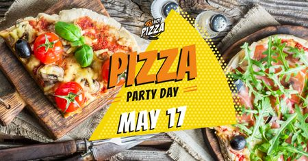 Ontwerpsjabloon van Facebook AD van Pizza Party Day Invitation Hot Pizza Slices