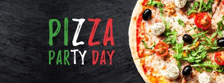 Modèle de visuel Pizza Party Day celebrating food - Facebook cover