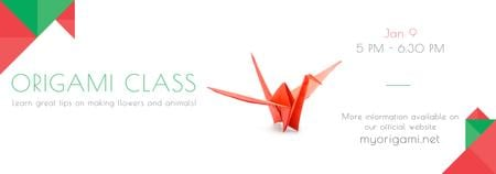 Plantilla de diseño de Origami Classes Invitation Paper Bird in Red Tumblr