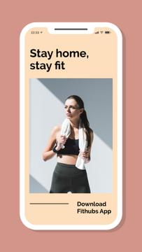Sports App promotion with Woman after Workout on Quarantine