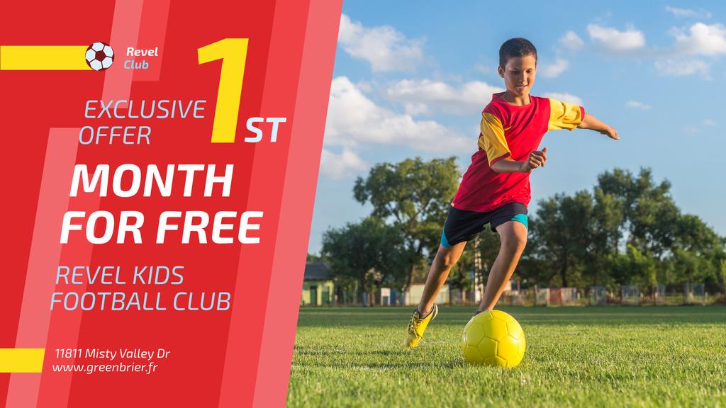 Football Club Ad Boy kicking Ball — Modelo de projeto