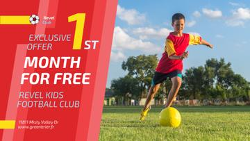 Football Club Ad Boy Kicking Ball | Facebook Event Cover Template