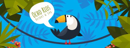 Plantilla de diseño de Toucan on liana in tropical forest Facebook Video cover