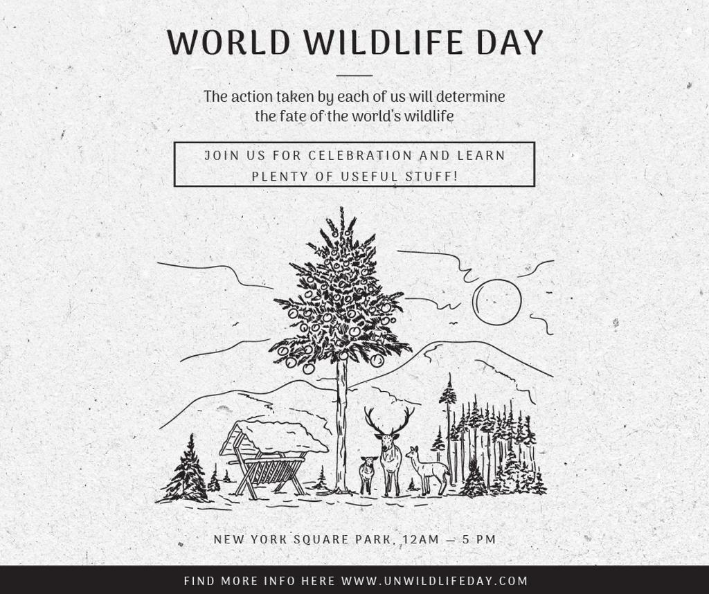 World Wildlife Day Event Announcement Nature Drawing — Создать дизайн