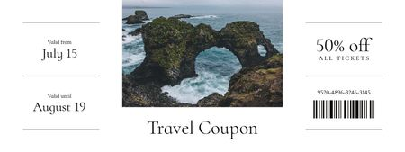 Travel Offer with Scenic Landscape of Ocean Rock Coupon Modelo de Design