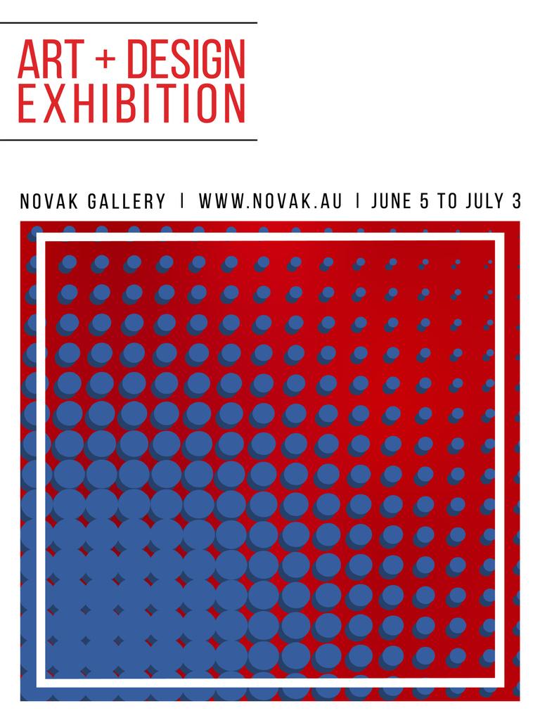 Art Exhibition Poster Contrast Dots Pattern | Poster Template — Crear un diseño
