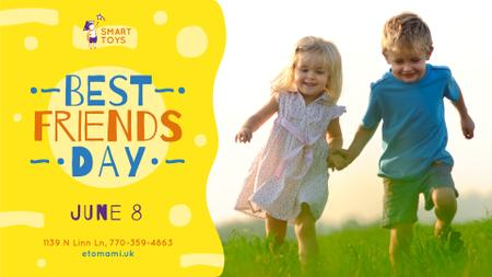 Best Friends Day Offer Kids on a walk outdoors FB event cover Design Template