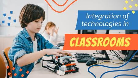 Designvorlage Kids Studying Robotics in Classroom für Youtube Thumbnail