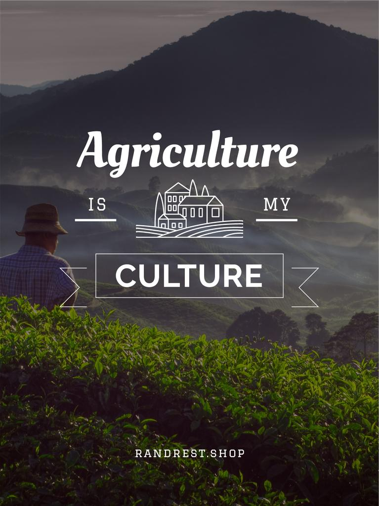 Agriculture is my life poster with farmer — Crea un design