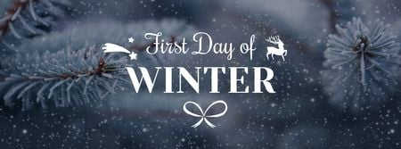 Plantilla de diseño de Winter Greeting with Frozen Fir Tree Branch Facebook cover