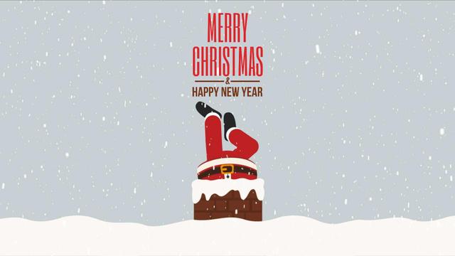 Plantilla de diseño de Santa stuck in chimney Full HD video