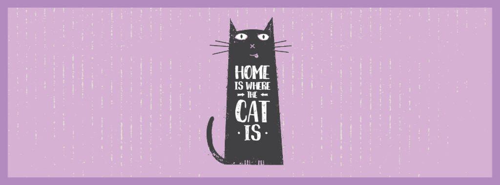 Funny Black Cat Purple Background | Facebook Video Cover Template — Crea un design