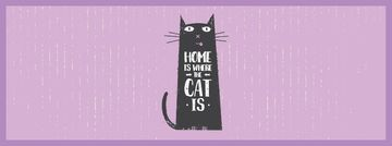 Funny Black Cat Purple Background | Facebook Video Cover Template