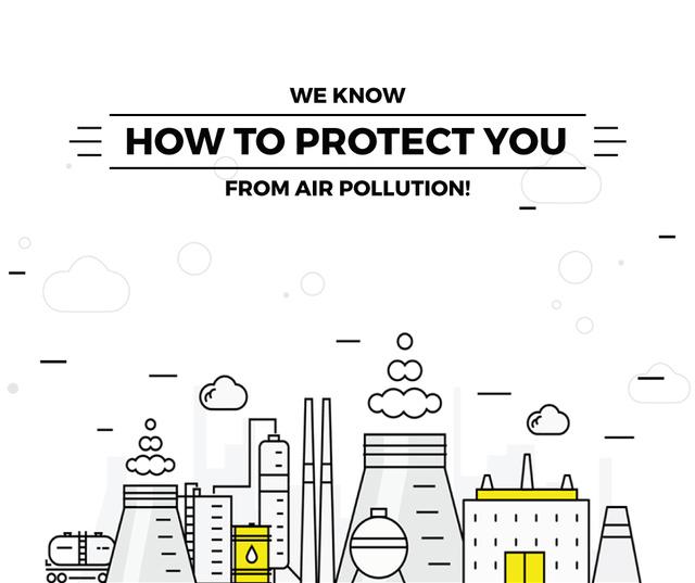 Air pollution concept with working Factory Facebook Tasarım Şablonu