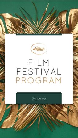 Plantilla de diseño de Film Festival golden palm Instagram Story